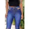 Calça Jeans Atacado Flare Cut Out Pocket Feminina Revanche Tâmara Azul Detalhe Frente