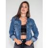 Jaqueta Jeans Atacado Caveira nas Costas Feminina Revanche Wellington Azul Frente