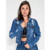 Jaqueta Jeans Atacado Destroyed Feminina Revanche Sstar Azul Frente