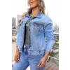 Jaqueta Jeans Atacado Feminina Revanche Svetlana Azul Detalhe Frente