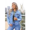 Jaqueta Jeans Atacado Feminina Revanche Svetlana Azul Frente
