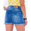 Saia Jeans Atacado Cintura Alta Feminina Revanche Juba Azul Costas