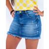 Saia Jeans Atacado Cintura Alta Feminina Revanche Juba Azul Zoom