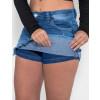 Saia Shorts Jeans Atacado Barra Desfiada Feminino Revanche Salomão Azul Detalhe