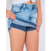 Saia Shorts Jeans Atacado Barra Desmanchada Feminina Revanche Cannes Detalhe