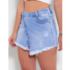Saia Shorts Jeans Atacado Feminina Revanche Cayenne Azul Frente Detalhe