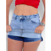Saia Shorts Jeans Atacado Feminino Revanche Blanch Azul Detalhe