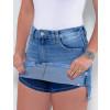Saia Shorts Jeans Atacado Feminino Revanche Brielle Azul Detalhe Frente