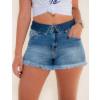 Shorts Jeans Atacado Barra Desfiada Feminino Revanche Conacri Azul Frente