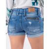 Shorts Jeans Atacado Bolso Zíper Feminino Revanche Beirute Azul Costas