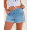 Shorts Jeans Atacado Cintura c/ Elástico Feminino Revanche Malabo Azul Frente