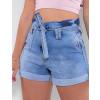 Shorts Jeans Atacado Clochard Feminino Revanche Herzegovina Azul Lado Zoom