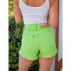 Shorts Jeans Atacado Feminino Revanche Cristal Verde Detalhe Costas