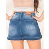 Shorts Saia Jeans Atacado Barra Desmanchada Feminino Revanche Guiné Azul costas