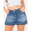 Shorts Saia Jeans Atacado Barra Desmanchada Feminino Revanche Guiné Azul Frente