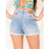 Shorts Saia Jeans Atacado Frente Aberta Feminino Revanche Majuro Azul Costas