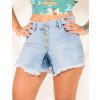Shorts Saia Jeans Atacado Frente Aberta Feminino Revanche Majuro Azul Detalhe