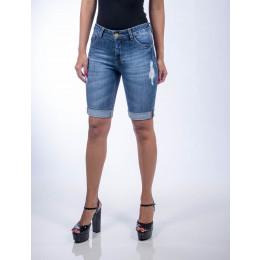Bermuda Jeans Atacado Ciclista Barra Virada Feminina Revanche Manama Frente