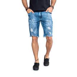 Bermuda Jeans Atacado Destroyed Masculina Revanche Louisville Frente