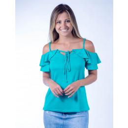 Blusa Atacado com Babado Feminina Revanche Milão Verde Frente