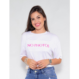 Blusa Atacado Cropped Feminino Revanche No Photos Preto Frente