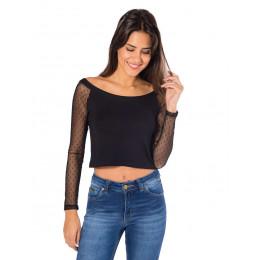 Blusa Atacado Cropped Feminino Revanche Tucson Preto Lateral