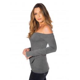 Blusa Atacado Ombro a Ombro Feminina Revanche Toulon Mescla Frente