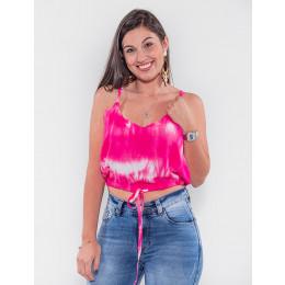 Blusa Cropped Atacado Tie Dye Feminina Revanche São Jorge Preto Frente
