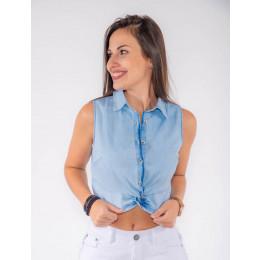 Blusa Jeans Atacado Cropped Feminino Revanche Hyeres fRENTE