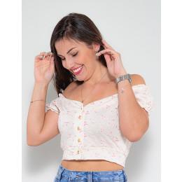 Blusa Ombro a Ombro Atacado Bordado Feminina Revanche Desiree Azul Frente