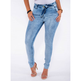 Calça Jeans Atacado Cigarrete c/ Bolso Faca e Laço Feminina Revanche Reggia II Azul Frente