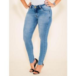 Calça Jeans Atacado Cigarrete Empina Bum Bum Feminino Revanche Veronique Azul Frente