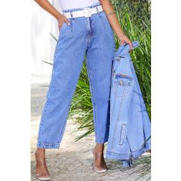 Calça Jeans Atacado Cropped Feminina Revanche Nádia Azul Frente