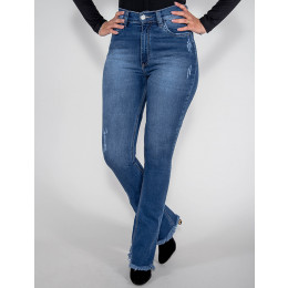 Calça Jeans Atacado Flare Hot Pants Feminina Revanche Quinixau Frente