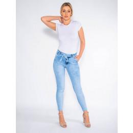 Calça Jeans Atacado Cigarrete c/ Bolso Faca e Laço Feminina Revanche Reggia Frente