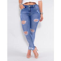 Calça Jeans Atacado Cigarrete Feminina Revanche Mogadíscio Azul Frente
