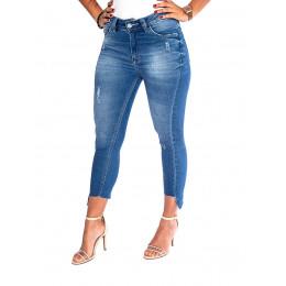 Calça Jeans Atacado Cropped c/Recorte na Barra Feminina Revanche Reggia Frente
