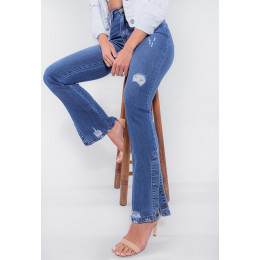 Calça Jeans Atacado Flare Feminina Revanche São Tomé Azul Detalhe Lado