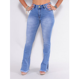 Calça Jeans Atacado Flare Feminina Revanche Villette Azul Frente