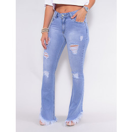 Calça Jeans Atacado Flare Feminina Revanche Virginie Azul Frente