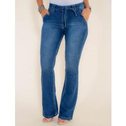 Calça Jeans Atacado Flare Laço Feminina Revanche Bissau Frente