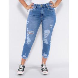 Calça Jeans Atacado Mom Cropped Feminina Revanche Josiane Azul Frente