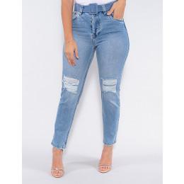Calça Jeans Atacado Mom Feminina Revanche Juene Azul Frente