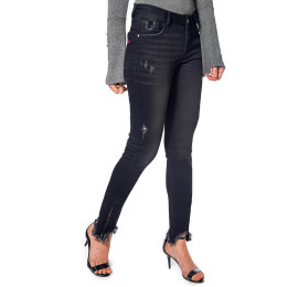 Calça Jeans Black Atacado Cigarrete Ziper na Barra Feminina Revanche Oklahoma Frente