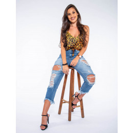 Calças Mom Jeans Atacado Cropped Feminina Revanche Minneapolis Frente