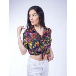 Camisa Atacado Estampada Manga Curta Feminina Revanche Summer Havai Branco Frente