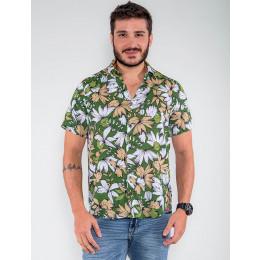 Camisa Atacado Florida Manga Curta Masculina Revanche Botsuana Azul Marinho Frente