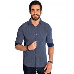 Camisa Atacado Manga Longa com Micro Estampa Masculino Revanche Bolonha Azul Marinho Frente