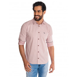 Camisa Atacado Manga Longa com Micro Estampa Masculino Revanche Bolonha Rosa Frente