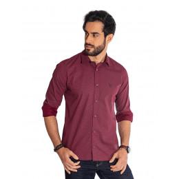 Camisa Atacado Manga Longa com Micro Estampa Masculino Revanche Bolonha Vinho Frente